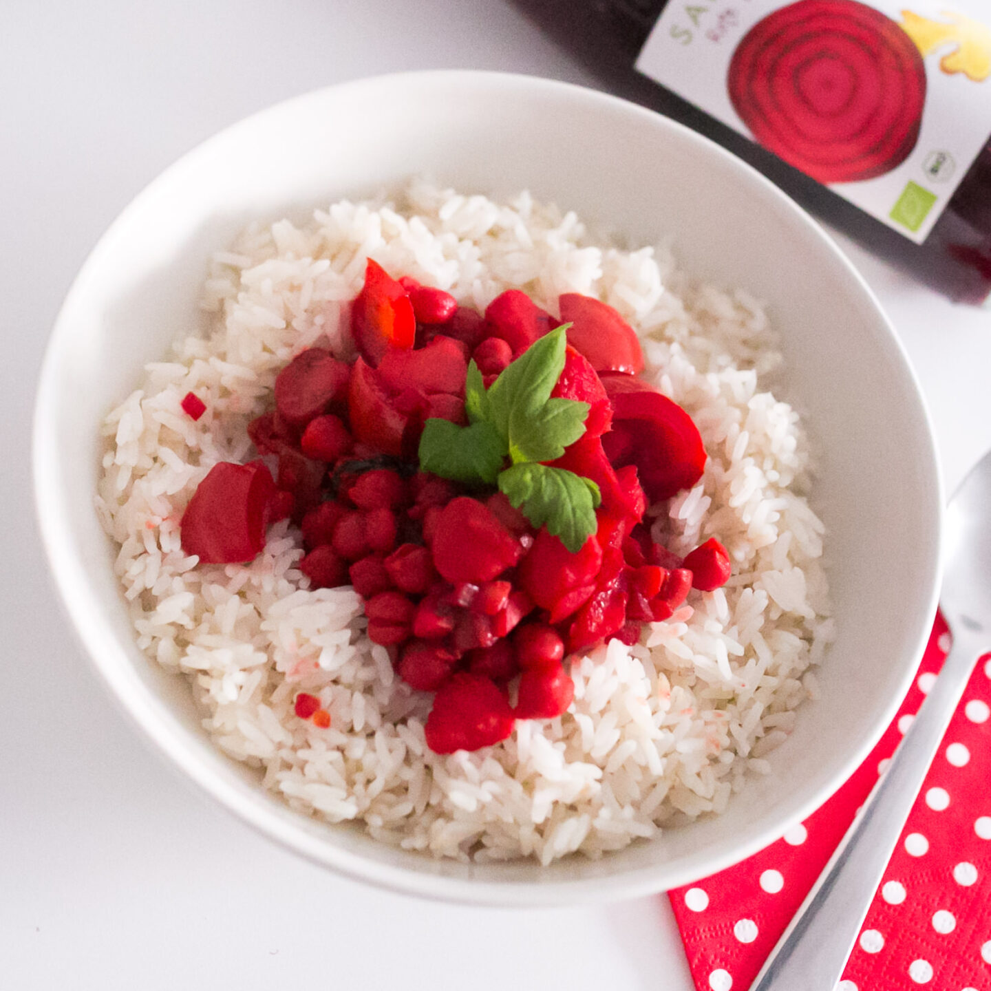 Pinkes Curry mit Rote Beete Saft