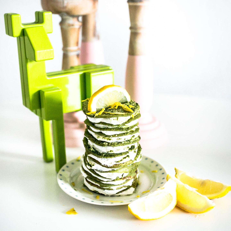 Matcha-Zitronen Pfannkuchentorte